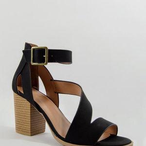 Shoes - Wild Nights - Black Asymmetrical Chunky Heel
